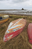 Old Brightly Painted Fishing Boats and Lindisfarne Castle in Winter, Holy Island, Northumberland Photographic Print by Eleanor Scriven