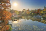 Elevated View of Small Pagoda in Autumn in a Wide Park Scene in Hangzhou, Zhejiang, China, Asia Photographic Print by Andreas Brandl
