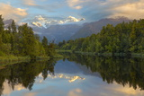 Lake Matheson with Mount Cook and Mount Tasman, West Coast, South Island, New Zealand, Pacific Photographic Print by Stuart Black