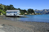 Boat House on the Beach of Akaroa, Banks Peninsula, Canterbury, South Island, New Zealand, Pacific Photographic Print by Michael Runkel
