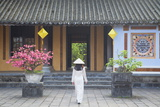 Woman Wearing Ao Dai Dress at Left House Inside Citadel, Hue, Thua Thien-Hue, Vietnam, Indochina Photographic Print by Ian Trower