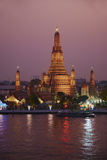 Wat Arun (Temple of the Dawn) and the Chao Phraya River by Night, Bangkok, Thailand Photographic Print by Tuul