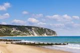 Swanage Beach and White Cliffs, Dorset, Jurassic Coast, England, United Kingdom, Europe Fotografisk trykk av Matthew Williams-Ellis