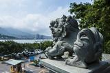 Stone Lion Overseeing the Danshui River from the Guandu Temple, Guandu, Taipei, Taiwan, Asia Photographic Print by Michael Runkel