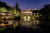 Illuminated Wen Ying Ge Tea House and Pavilion at West Lake, Hangzhou, Zhejiang, China, Asia Photographic Print by Andreas Brandl