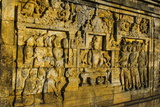 Buddha Reliefs in the Temple Complex of Borobodur, Java, Indonesia, Southeast Asia, Asia Photographic Print by Michael Runkel