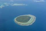 Aerial Photo of a Little Island in Tonga, South Pacific, Pacific Photographic Print by Michael Runkel