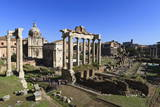 Elevated View of the Columns of the Temples of Saturn and Vespasian with Santi Luca E Martina Photographic Print by Eleanor Scriven