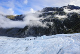 Tourist Hiking on Fox Glacier, Westland Tai Poutini National Park, South Island Photographic Print by Michael Runkel