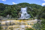 Smoking Geothermal Acitve Field in the Waimangu Volcanic Valley, North Island, New Zealand, Pacific Photographic Print by Michael Runkel