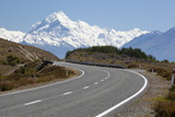 Mount Cook and Mount Cook Road with Rental Car, Mount Cook National Park, Canterbury Region Photographic Print by Stuart Black