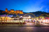 Christmas Market at Karlsplatz in the Old Town of Heidelberg, with Castle Heidelberg, Heidelberg Photographic Print by Andreas Brandl