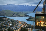 Skyline Restaurant with Lake Wakatipu and the Remarkables at Dusk, Queenstown, Otago Photographic Print by Stuart Black