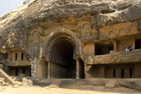The Main Open Chaitya (Temple) in the Bhaja Caves, Excavated in Basalt, Lonavala Photographic Print by Tony Waltham