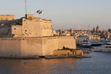 Fort St. Angelo, Fishing Boat and Vittoriosa (Birgu) at Sunset, Grand Harbour Photographic Print by Eleanor Scriven