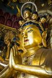 Golden Buddha in the Guandu Temple, Guandu, Taipei, Taiwan, Asia Photographic Print by Michael Runkel
