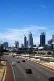Cars on Northern Freeway Head into Perth City, Western Australia, Australia, Pacific . Photographic Print by Lynn Gail