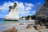 Giant Rock on the Sandy Beach of Cathedral Cove, Coromandel, North Island, New Zealand, Pacific Photographic Print by Michael Runkel
