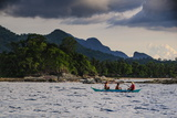 Outrigger Cruising on the Waters Near the Puerto Princesa Underground River, Palawan, Philippines Photographic Print by Michael Runkel
