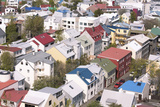 Colourful Buildings in Downtown Reykjavik Seen from the Top of Hallgrimskirkja, Reykjavik, Iceland Photographic Print by Lee Frost