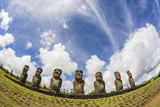 Seven Moai at Ahu Akivi, the First Restored Altar, Rapa Nui National Park Photographic Print by Michael Nolan