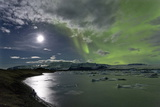 The Aurora Borealis (Northern Lights) over Jokulsarlon Glacial Lagoon, Vatnajokull National Park Photographic Print by Lee Frost