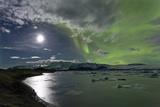 The Aurora Borealis (Northern Lights) over Jokulsarlon Glacial Lagoon, Vatnajokull National Park Photographic Print by Lee Frost