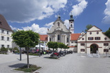 Street Cafe in Front of Baroque Cathedral, Zwiefalten Monastery, Swabian Alb Photographic Print by Markus Lange
