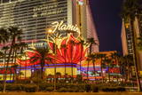 Neon Lights, Las Vegas Strip at Dusk with Flamingo Facade and Palm Trees, Las Vegas, Nevada, Usa Reproduction photographique par Eleanor Scriven