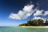 View of Idyllic Belle Mare Beach Showing Blue Sky Photographic Print by Lee Frost