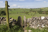 Footpath Sign and Stone Stile with Dry Stone Wall, Near Alstonefield, Peak District National Park Photographic Print by Eleanor Scriven