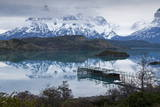 Boatdock and Late Evenng Reflections in Lago Pehoe, Torres Del Paine National Park, Patagonia Photographic Print by Eleanor Scriven