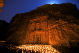 Treasury Lit by Candles at Night, Petra, UNESCO World Heritage Site, Jordan, Middle East Photographic Print by Neil Farrin