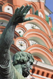 Statue of Minin and Pozharskiy and St. Basil's Cathedral in Red Square, Moscow, Russia, Europe Photographic Print by Martin Child