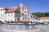 Mondsichelmadonna Sculpture, Marienbrunnen Fountain, Market Place Schwabisch Gmund Photographic Print by Markus Lange