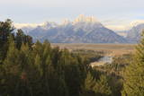 Hazy Teton Range from Snake River Overlook in Autumn (Fall), Grand Teton National Park, Wyoming Photographic Print by Eleanor Scriven