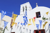 Church with Flags in Mykonos Town, Mykonos Island, Cyclades, Greek Islands, Greece, Europe Photographic Print by Richard Cummins