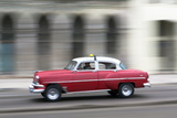 Panned Shot of Vintage American Car on the Malecon, Havana, Cuba Photographic Print by Lee Frost