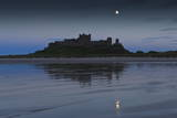 Bamburgh Castle under a Full Moon at Dusk in Summer, Bamburgh, Northumberland, England Photographic Print by Eleanor Scriven