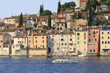 Yacht and Old Town from the Sea on a Summer's Early Morning, Rovinj (Rovigno) Peninsula, Istria Photographic Print by Eleanor Scriven