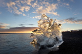 Icebergs at Sunset on Jokulsa Beach, on the Edge of the Vatnajokull National Park, South Iceland Photographic Print by Lee Frost