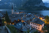 Village of Hallstatt Illuminated at Dusk, Hallstattersee, Oberosterreich (Upper Austria) Photographic Print by Doug Pearson