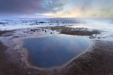 Steam Rising from Geothermal Pools at Sunrise in Winter, Geysir, Haukardalur Valley Photographic Print by Lee Frost