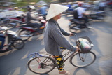 Woman Riding Bicycle, Hue, Thua Thien-Hue, Vietnam, Indochina, Southeast Asia, Asia Photographic Print by Ian Trower
