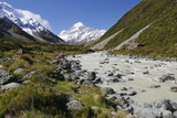 Hooker Valley and River with Mount Cook, Mount Cook National Park, Canterbury Region Photographic Print by Stuart Black