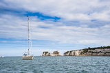 Sailing Boat at Old Harry Rocks, Between Swanage and Purbeck, Dorset, Jurassic Coast, England Photographic Print by Matthew Williams-Ellis