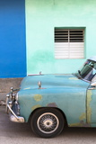 Vintage American Car Parked in Front of the Green and Blue Walls of a Colonial Building Photographic Print by Lee Frost