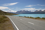Mount Cook and Lake Pukaki with Empty Mount Cook Road, Mount Cook National Park, Canterbury Region Photographic Print by Stuart Black