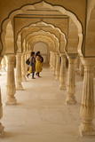 Indian Women under Arches, Amber Fort Palace, Jaipur, Rajasthan, India, Asia Photographic Print by Peter Barritt
