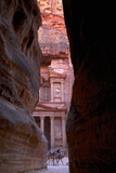Glimpse of the Treasury from the Siq, Petra, UNESCO World Heritage Site, Jordan, Middle East Photographic Print by Neil Farrin